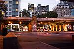 The railway crossing at Queens Bridge in Melbourne Australia