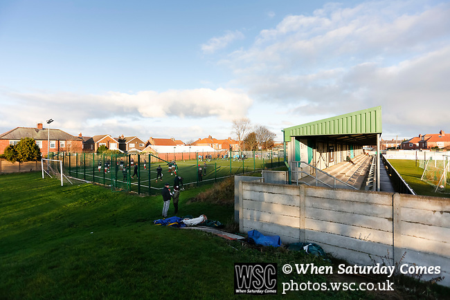 The teams go through their warm ups on an astroturf 5 a side pitch. Blyth Spartans v Brackley Town, 30112019. Croft Park, National League North. Photo by Paul Thompson.