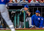 6 October 2017: Chicago Cubs Manager Joe Maddon watches action from the dugout steps during the first game of the NLDS against the Washington Nationals at Nationals Park in Washington, DC. The Cubs shut out the Nationals 3-0 to take a 1-0 lead in their best of five Postseason series. Mandatory Credit: Ed Wolfstein Photo *** RAW (NEF) Image File Available ***