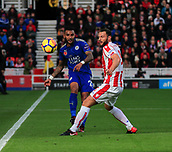 4th November 2017, bet365 Stadium, Stoke-on-Trent, England; EPL Premier League football, Stoke City versus Leicester City; Danny Simpson of Leicester City passes the ball down the line
