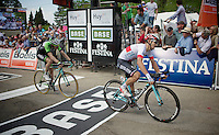 crossing the finish line <br /> 3rd: Michal Kwiatkowski (POL/OPQS)<br /> 4th: Bauke Mollema (NLD/Belkin)<br /> <br /> La Flèche Wallonne 2014