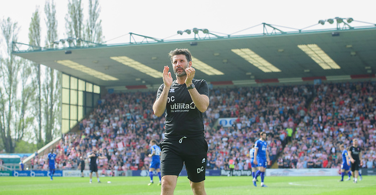 Lincoln City manager Danny Cowley applauds the fans prior to the game<br /> <br /> Photographer Chris Vaughan/CameraSport<br /> <br /> The EFL Sky Bet League Two - Lincoln City v Tranmere Rovers - Monday 22nd April 2019 - Sincil Bank - Lincoln<br /> <br /> World Copyright © 2019 CameraSport. All rights reserved. 43 Linden Ave. Countesthorpe. Leicester. England. LE8 5PG - Tel: +44 (0) 116 277 4147 - admin@camerasport.com - www.camerasport.com