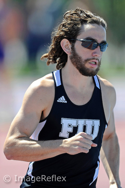 14 March 2013:  FIU's Miguel Delgadillo (6) competes in the 1,500 meter run at the FIU Felsberg Invitational track meet at the Ansin Sports Complex in Miramar, Florida.