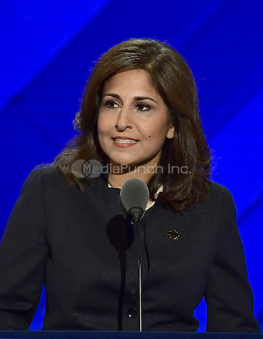 Near Tanden, President and CEO, Center for American Progress, makes remarks during the third session of the 2016 Democratic National Convention at the Wells Fargo Center in Philadelphia, Pennsylvania on Wednesday, July 27, 2016.<br /> Credit: Ron Sachs / CNP/MediaPunch<br /> (RESTRICTION: NO New York or New Jersey Newspapers or newspapers within a 75 mile radius of New York City)
