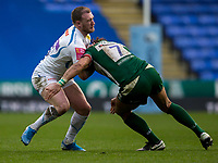 Exeter Chiefs' Stuart Hogg is tackled by London Irish's Blair Cowan<br /> <br /> Photographer Bob Bradford/CameraSport<br /> <br /> Gallagher Premiership - London Irish v Exeter Chiefs - Sunday 5th January 2020 - Madejski Stadium - Reading<br /> <br /> World Copyright © 2020 CameraSport. All rights reserved. 43 Linden Ave. Countesthorpe. Leicester. England. LE8 5PG - Tel: +44 (0) 116 277 4147 - admin@camerasport.com - www.camerasport.com