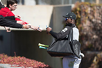 Chicago White Sox outfielder Luis Robert (92) signs autographs during Spring Training Camp on February 25, 2018 at Camelback Ranch in Glendale, Arizona. (Zachary Lucy/Four Seam Images)
