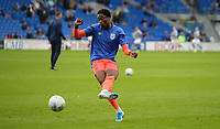 Huddersfield Town's Terence Kongolo during the pre-match warm-up <br /> <br /> Photographer Ian Cook/CameraSport<br /> <br /> The EFL Sky Bet Championship - Cardiff City v Huddersfield Town - Wednesday August 21st 2019 - Cardiff City Stadium - Cardiff<br /> <br /> World Copyright © 2019 CameraSport. All rights reserved. 43 Linden Ave. Countesthorpe. Leicester. England. LE8 5PG - Tel: +44 (0) 116 277 4147 - admin@camerasport.com - www.camerasport.com