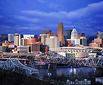 The Downtown Cincinnati Skyline As Seen From Devou Park In Covington Kentucky Just Before Sunset, Cincinnati Ohio, USA