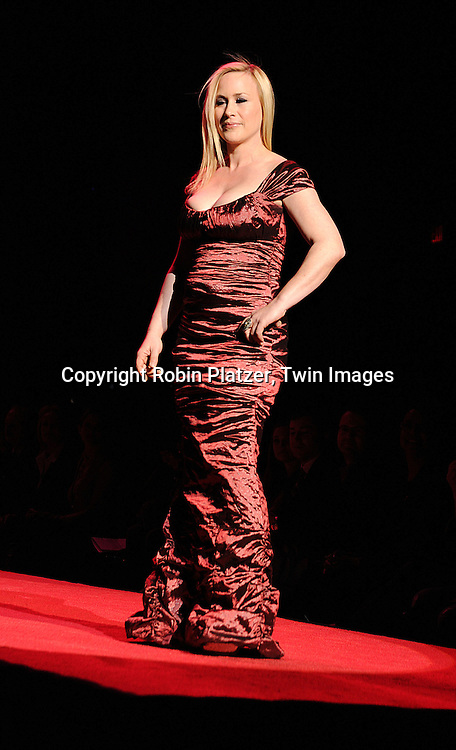 Patricia Arquette in Nicole Miller dress..at The Heart Truth's Red Dress Fashion Show on February 12, 2009 at Mercedes Benz FAshion Week. Swarovski was one of the sponsers for this show. ....Robin Platzer, Twin Images