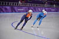 OLYMPIC GAMES: PYEONGCHANG: 24-02-2018, Gangneung Oval, Long Track, Mass Start Ladies, Irene Schouten (NED), Francesca Lollobrigida (ITA), ©photo Martin de Jong