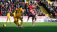 Lincoln City's Bruno Andrade scores the opening goal<br /> <br /> Photographer Chris Vaughan/CameraSport<br /> <br /> The EFL Sky Bet League Two - Lincoln City v Northampton Town - Saturday 9th February 2019 - Sincil Bank - Lincoln<br /> <br /> World Copyright &copy; 2019 CameraSport. All rights reserved. 43 Linden Ave. Countesthorpe. Leicester. England. LE8 5PG - Tel: +44 (0) 116 277 4147 - admin@camerasport.com - www.camerasport.com