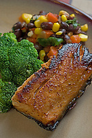 Grilled salmon with broccoli and corn salad