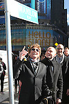 Jordan Roth with Barry Manilow & Todd Asher (NY Mayor's Office) unveiling the new street sign 'Manilow Way' on West 44th Street in a renaming ceremony celebrating 'Manilow on Broadway' at the St. James Theatre in New York City on 1/22/2013