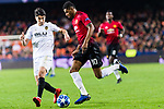 Marcus Rashford of Manchester United (R) fights for the ball with Carlos Soler of Valencia CF (L) during the UEFA Champions League 2018-19 match between Valencia CF and Manchester United at Estadio de Mestalla on December 12 2018 in Valencia, Spain. Photo by Maria Jose Segovia Carmona / Power Sport Images