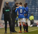 27.02.2019: Rangers v Dundee: Steven Gerrard with Ryan Jack and Glen Kamara at the end