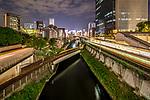 Night city views from the Hijiri Bridge in Ochanomizu, Tokyo, Japan.
