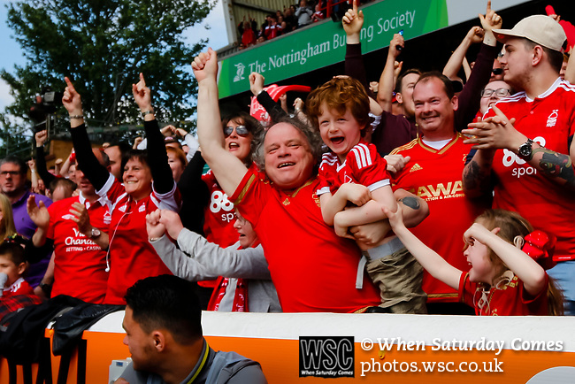 Nottingham Forest 3 Ipswich Town 0, 07/05/2017. City Ground, Championship. Forest fans celebrate the third goal scored by Britt Assombalonga of Nottingham Forest during the game between Nottingham Forest v Ipswich Town at the City Ground Nottingham in the SkyBet Championship. Photo by Paul Thompson.