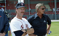 Boston Red Sox Rick Burleson and Carl Yastrzemski during spring training circa 1992 at Chain of Lakes Park in Winter Haven, Florida.  (MJA/Four Seam Images)