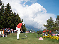 Rory Mcilroy (NIR) in action on the 18th hole during final round at the Omega European Masters, Golf Club Crans-sur-Sierre, Crans-Montana, Valais, Switzerland. 01/09/19.<br /> Picture Stefano DiMaria / Golffile.ie<br /> <br /> All photo usage must carry mandatory copyright credit (© Golffile | Stefano DiMaria)