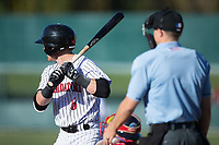 Max Dutto (6) of the Kannapolis Intimidators at bat against the Lakewood BlueClaws at Kannapolis Intimidators Stadium on April 9, 2017 in Kannapolis, North Carolina.  The BlueClaws defeated the Intimidators 7-1.  (Brian Westerholt/Four Seam Images)