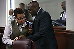 Nevada Senate Democrats Patricia Spearman and Kelvin Atkinson talk on the Senate floor during a special session at the Nevada Legislature in Carson City, Nev. on Tuesday, Oct. 11, 2016. <br /> Photo by Cathleen Allison