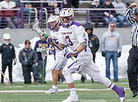 University at Albany Men's Lacrosse defeats Cornell 11-9 on Mar 4 at Casey Stadium.  T.D. Ierlan (#3) wins a faceoff.