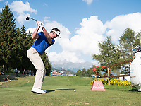 Gonzalo Fernandez-Castano (ESP) in action on the 18th hole during second round at the Omega European Masters, Golf Club Crans-sur-Sierre, Crans-Montana, Valais, Switzerland. 30/08/19.<br /> Picture Stefano DiMaria / Golffile.ie<br /> <br /> All photo usage must carry mandatory copyright credit (© Golffile | Stefano DiMaria)