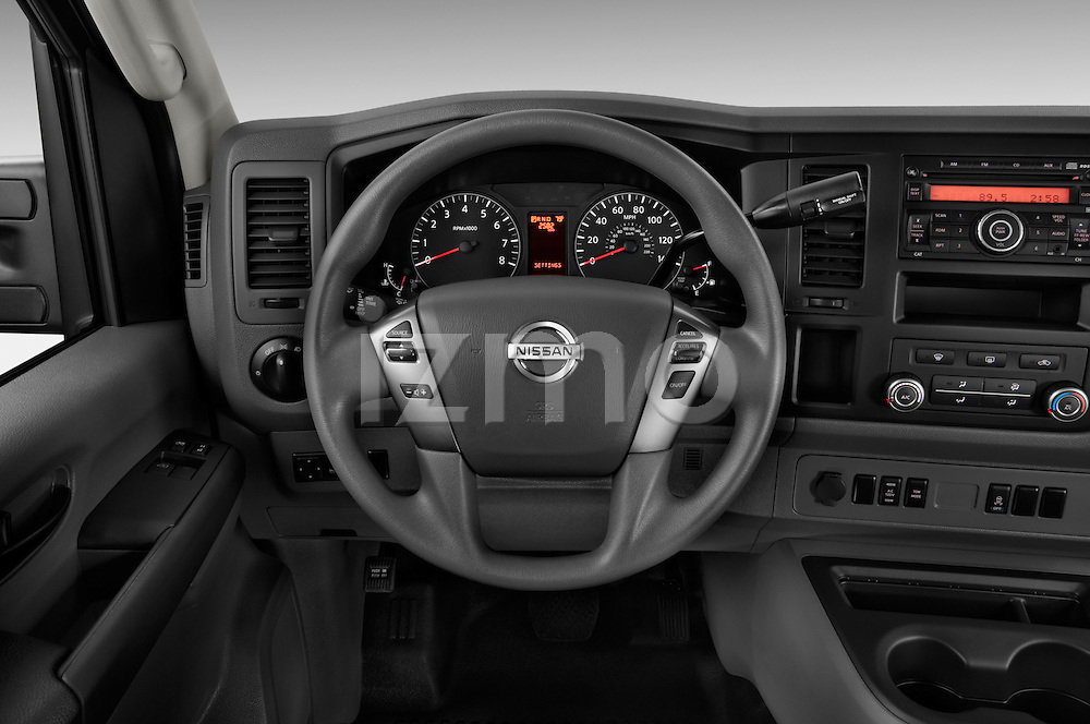 Steering wheel view of a 2014 Nissan NV 3500 HD cargo van