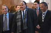 Martin Luther King III (center) is seen arriving in the lobby of the Trump Tower in New York, NY, on January 16, 2017.<br /> Credit: Anthony Behar / Pool via CNP