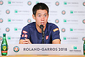 Tennis: French Open 2018: Kei Nishikori of Japan attends press conference