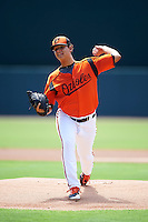 GCL Orioles starting pitcher Yelin Rodriguez (37) during a game against the GCL Twins on August 11, 2016 at the Ed Smith Stadium in Sarasota, Florida.  GCL Twins defeated GCL Orioles 4-3.  (Mike Janes/Four Seam Images)