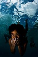 Bonaire girl underwater, Bonaire, Netherland Antilles, Caribbean Sea, Atlantic Ocean