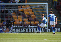 Liam Craig scores from the penalty in the Motherwell v St Johnstone Clydesdale Bank Scottish Premier League match played at Fir Park, Motherwell on 28.4.12.