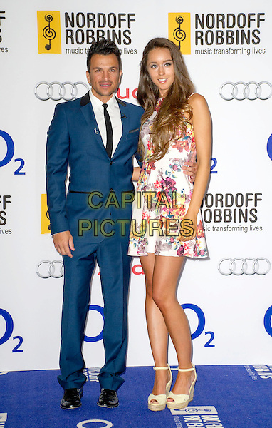 Peter Andre and Emily McDonagh<br /> Nordoff Robbins Silver Clef Awards at the Hilton, Park Lane, London, UK, June 28th 2013.<br /> full length blue suit tie black white shirt couple tall short print floral dress wedges girlfriend <br /> CAP/PP/GM<br /> &copy;Gary Mitchell/PP/Capital Pictures
