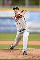 New Britain Rock Cats pitcher Matthew Summers (25) delivers a warmup pitch during a game against the Harrisburg Senators on April 28, 2014 at Metro Bank Park in Harrisburg, Pennsylvania.  Harrisburg defeated New Britain 9-0.  (Mike Janes/Four Seam Images)