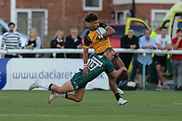 Guy Armitage of Ealing Trailfinders is tackled by Tom Stephenson of London Irish (13) during the Greene King IPA Championship match between Ealing Trailfinders and London Irish Rugby Football Club  at Castle Bar, West Ealing, England  on 1 September 2018. Photo by David Horn.