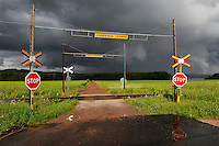 Sweden, railway crossing in Leksand, Siljan Lake