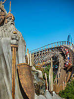 Germany, Baden-Wurttemberg, Rust (Baden): Europa-Park - WODAN Timburcoaster at themed area Iceland | Deutschland, Baden-Wuerttemberg, Rust (Baden) im Ortenaukreis: Europa-Park - WODAN Timburcoaster im islaendischen Themenbereich