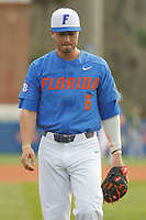 University of Florida Gators infielder Jonathan India (6) before a game against the Siena Saints at Alfred A. McKethan Stadium in Gainesville, Florida on February 17, 2018. Florida defeated Siena 10-2. (Robert Gurganus/Four Seam Images)