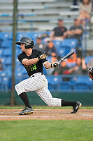 Logan Taylor (14) of the Great Falls Voyagers follows through on his swing against the Helena Brewers at Centene Stadium on August 19, 2017 in Helena, Montana.  The Voyagers defeated the Brewers 8-7.  (Brian Westerholt/Four Seam Images)