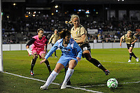 Carrie Dew (19) of FC Gold Pride battles Sarah Walsh (8) of Sky Blue FC during a Women's Professional Soccer match at TD Bank Ballpark in Bridgewater, NJ, on April 11, 2009. Photo by Howard C. Smith/isiphotos.com