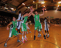 Jets centre Nick Horvath (left) takes a defensive rebound. NBL  - Manawatu Jets  v Nelson Giants at Arena Manawatu, Palmerston North, New Zealand on Saturday, 25 June 2011. Photo: Dave Lintott / lintottphoto.co.nz