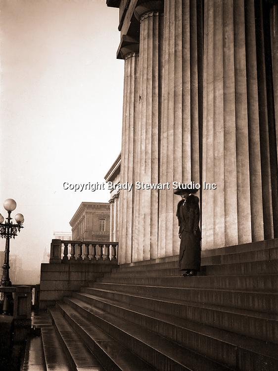 Washington DC:  Sarah Stewart on the steps of the United States Capital - 1912
