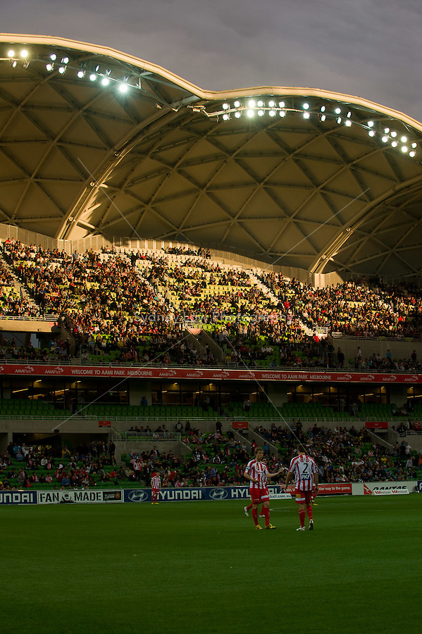 MELBOURNE, AUSTRALIA - DECEMBER 11: The stadium is bathed in the setting sun at the round 18 A-League match between the Melbourne Heart and Melbourne Victory at AAMI Park on December 11, 2010 in Melbourne, Australia. (Photo by Sydney Low / Asterisk Images)