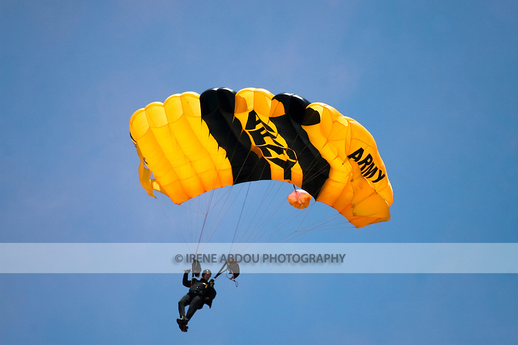 Golden Knight parachutists skydive above Andrews Air Force Base, Maryland at the Joint Service Open House.