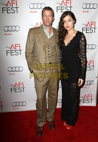 """Thomas Jane & Sasha Grey .AFI Fest 2011  Premiere Of """"I Melt With You"""" Held At the Egyptian Theatre, Hollywood, California, USA.  .November 7th, 2011.full length brown suit waistcoat black dress lace red shoes red check blue floral print shirt.CAP/ADM/KB.©Kevan Brooks/AdMedia/Capital Pictures."""