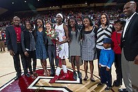 Stanford senior  Chiney Ogwumike, celebrates after the Stanford women's basketball  vs Washington State at Maples Pavilion, Stanford, California on March 1, 2014.