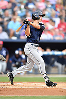 Charleston RiverDogs right fielder Ben Ruta (16) swings at a pitch during a game against the Asheville Tourists at McCormick Field on July 4, 2017 in Asheville, North Carolina. The Tourists defeated the RiverDogs 2-1. (Tony Farlow/Four Seam Images)