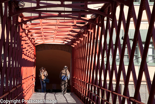 Peixateries - Pescateries Velles Bridge by Gustave Eiffel in Girona, Catalonia, Spain