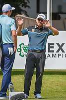 Louis Oosthuizen (RSA) has some fun with Ross Fisher (ENG) on the 10th tee before round 2 of the World Golf Championships, Mexico, Club De Golf Chapultepec, Mexico City, Mexico. 3/2/2018.<br /> Picture: Golffile | Ken Murray<br /> <br /> <br /> All photo usage must carry mandatory copyright credit (&copy; Golffile | Ken Murray)
